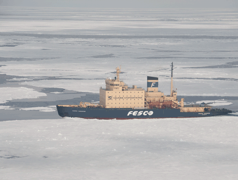 View of Kapitan in pack ice